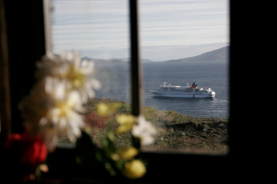 A cruise ship visits Cape Horn on its way around South America.