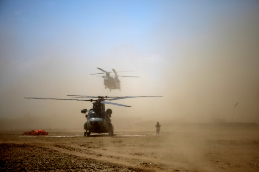 Chanook Helicopters from the United Arab Emirates land in a field in Pakistan to deliver supplies and relief to flooded regions of the country.