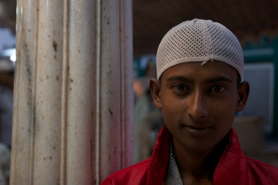 Indian youth at a mosque to worship.