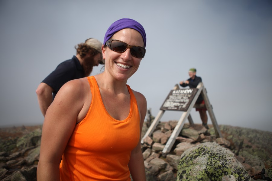 Emily 'Rainbow' Cohen finishes her thru-hike of the Appalachian Trail on Mount Katahdin, Maine.