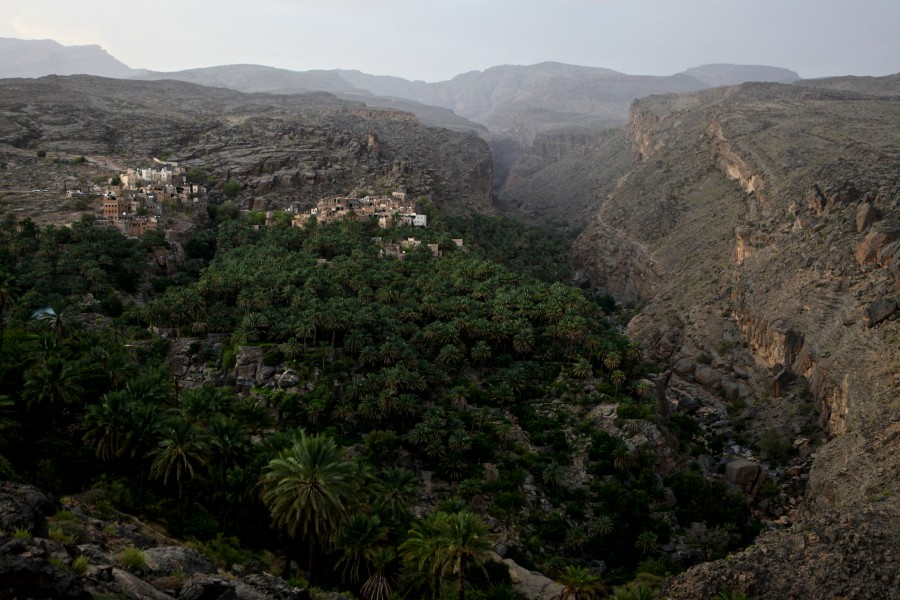 The town of Misfat, Oman, seen from the hillsides above. Date plams grow in the valley below