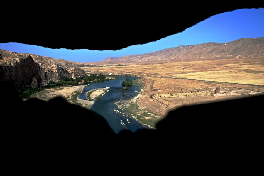 The Tigris River as seen from the caves of Hasankeyf, Turkey